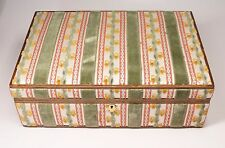"Large Vintage Italy Brocade Velvet & Wood Trim Jewelry Box + Tray 14.5"" Long"