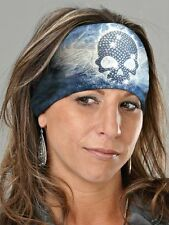 THAT'S A WRAP® Blue Skull Knotty Head-Band Rhinestone Embellished Bandana KB1825