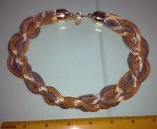 Silver Tone Woven Braided Chunky Statement Chain Choker Necklace - Lobster Clasp