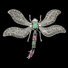 Sterling Silver 925 Marcasite, Ruby, Emerald & Sapphire Dragonfly Brooch