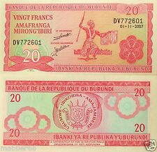 BURUNDI AFRICA UNC 2007 20 FRANCS FOREIGN BANKNOTE WORLD PAPER MONEY CURRENCY