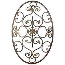 Gorgeous LARGE Antique Bronze Metal Oval with Scrolls Wall Art Hanging Decor