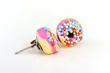Purple iced Donut /  Doughnut - with sprinkles Stud Earrings - Kawaii Kitsch