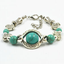Hot Selling 1 PCS NEW Fashion Jewelry Silver tone Flower Turquoise Bracelets