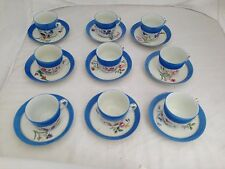 HAVILAND LIMOGES BLUE BAND HAND PAINTED FLOWERS NINE 9 TEA CUP SAUCER