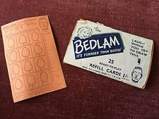 Bedlam Vintage 1950's UPL Game 25 Refill Cards Fair Condition New, Unused.