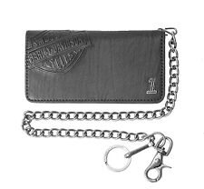 Harley-Davidson® Men's Bar & Shield Black Leather Chain Wallet CR2309L-BLACK