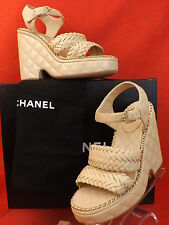 15P NIB CHANEL BEIGE QUILTED LEATHER CC LOGO CHAIN WEDGE WEAVE SANDALS 39 $1550