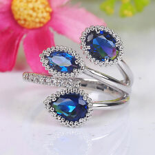 Noble Jewelry Fashion 925 silver Sapphire wedding ring size Adjustable BZ034