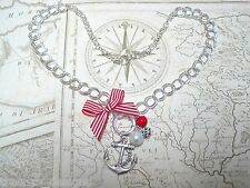 RED ANCHOR NAUTICAL Silver Plate Charm Necklace Sailor