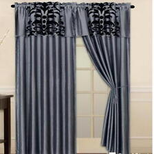 Luxury Flocking Gray Black New Window Curtain Panels Liner
