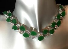 14k White Gold GF Necklace made w/ Swarovski Crystal Emerald Green & Clear Stone