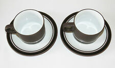 Hornsea Contrast 2 x Tea Cups and Saucers Retro/Vintage
