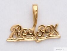Boston Red Sox Necklace Pendant Real 24K Yellow Gold Plated Charm Pendant MLB