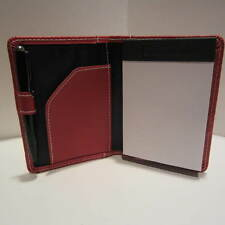 HAMPTON /LEEDS RED LEATHER POCKET JOTTER NOTEPAD+PEN