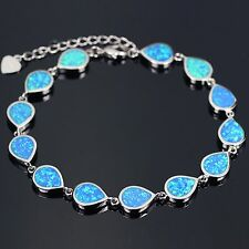 Sterling Silver Plated Blue Fire Opal Water Drop Bracelet
