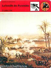 FICHE la Bataille des Pyramides 21 Juillet 1798 Bonaparte Egypte FRANCE 80s