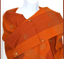 Cotton hand made Hand Woven Mirror Work Stole Wrap Maize Color from India