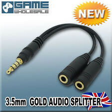 GOLD AUDIO SPLITTER 3.5mm Jack Earphone Headphone Adapter Sound Y Cable BLACK