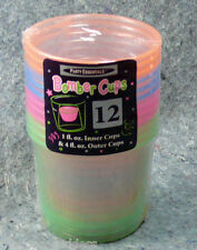Bomber Cups Plastic Party Essentials 4 oz Assorted Neon 12 N491 booze shots NEW
