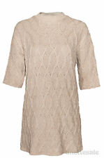 ZARA KNIT New Long Line Ladies Cable Jumper Caramel Beige Short Sleeve Size L
