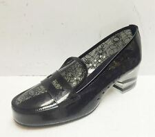 Chanel 16P Black Lace Transparent PVC Patent Moccasins Loafers Shoes 37