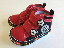Baby Toddler Boy Black Red Boot Shoes Size 7 High Top with Straps
