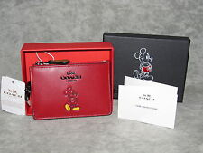 COACH Disney Mickey Mini ID Card Wallet~Red Leather~Ltd Ed.~NWT NIB~Free Ship