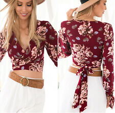 Size L Women's Long Sleeve Shirt Casual Floral Blouse Loose Chiffon Tops
