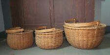SET OF 3 ANTIQUE SWING HANDLE TAGHKANIC INDIAN BASKET BASKETS GRADUATED SIZES