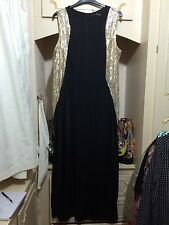 BLACK GOLD STRETCH SEQUIN EMBELLISED MAXI DRESS SIZE 20/22 BNWT
