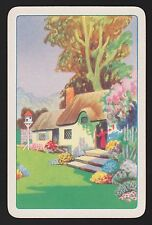 1 SINGLE VINTAGE SWAP PLAYING CARD THATCH COTTAGE LADY AT DOOR BIRD HOUSE & TREE