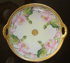 ANTIQUE HAVILAND HAND PAINTED D'ARCY STUDIO CAKE PLATE, TRAY, WATER LILIES, 10""