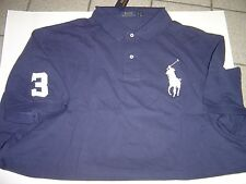 BIG RALPH LAUREN NAVY WITH WHITE LG PONY S/S MESH POLO SHIRT SIZE 5X $110