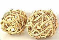 """Twig Ball Shaped 8"""" Pair Chic  2 Topiary Beach Decor Shabby Natural Windsor Knot"""