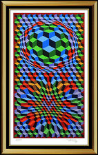 Victor Vasarely Silkscreen Original Hand Signed Op Illusion Large Authentic Art