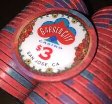 100 $3 Garden City Casino Chips PAULSON Clay TOP HAT & CANE