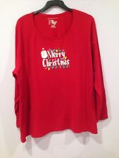 NWT JMS Just my Size Red Christmas Santa Holidays Shirt Top Blouse Plus Size 4x