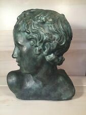 """Amphora Ceramic BUST Head Androgynous Made In Spain Green 13"""" H x 11"""" W"""