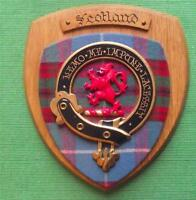Old Scottish Carved Oak Clan Scotland Coat  Arms Plaque Crest Shield