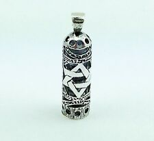 Mezuzah Magen David Star Pendant 925 Sterling Silver & Parchment Scroll Judaica