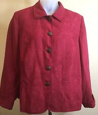 The Avenue Womens Plus Size 22/24 Faux Suede Jacket Blazer Red Long Sleeve Lined