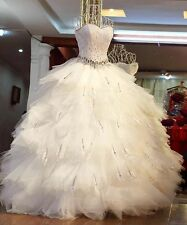 New White Crystal Sweetheart Ball Gown Feather Wedding Dresses Bridal Gowns