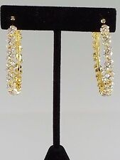 Gold and AB Crystal FASHION Hoop Earrings