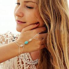 Boho gypsy festival turquoise bracelet esclave anneau chaîne à main lien harnais