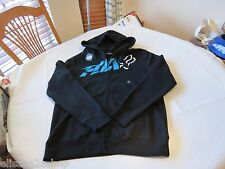 Men's Fox Racing hoodie zip up jacket coat medium M black blue white head logo