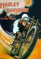 Vintage HARLEY DAVIDSON  MOTORCYCLE advertising  * QUALITY CANVAS  PRINT