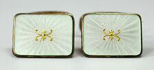 Vintage Signed Cufflinks 925 Sterling Silver Gilt White Enamel Guilloche w Card