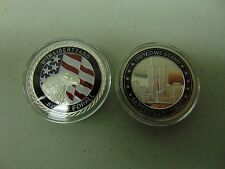 CHALLENGE COIN FREE CAPSULE SHIPPING 9-11 UNITED WE STAND LIBERTY JUSTICE SILVER