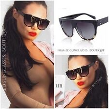 DESIGNER Inspired SHADOW SHIELD Flat Top GREY Leopard BLACK SUNGLASSES Celeb